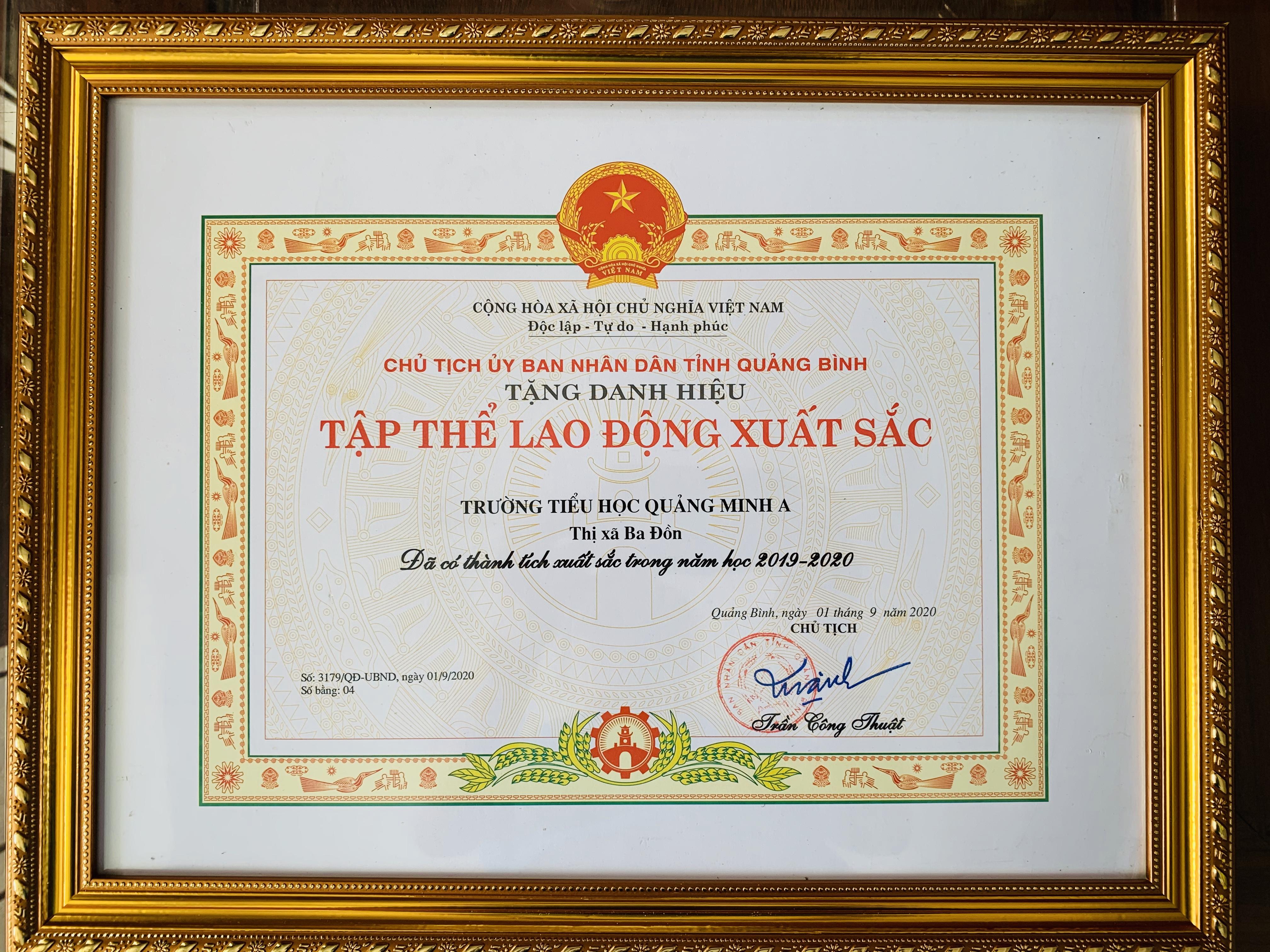 Thành tích đạt được của trường TH Quảng Minh A năm học 2019 – 2020